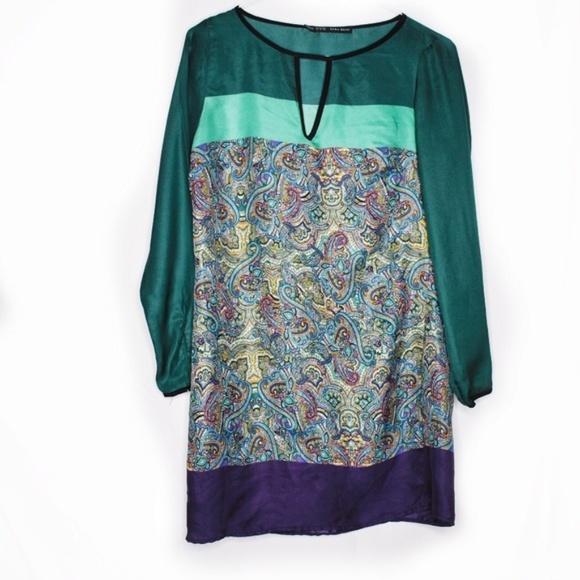 Zara Dresses & Skirts - Zara Basic Colorblock Paisley Shift Dress Medium